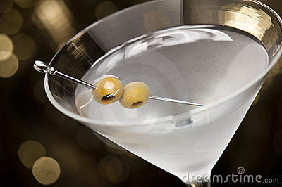Vodka Martini with olive garnish