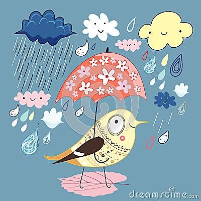 Vogel unter dem Regenschirm