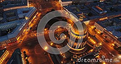 Vogelperspektive auf des der Kathedrale St. Isaacs, Mitte von St Petersburg Ansicht über Vasilievsky-Insel stock video footage