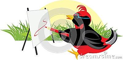 Vogeltje-kunstenaar met schildersezel