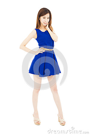 Vogue girl standing and Hand on his waist. isolated on white