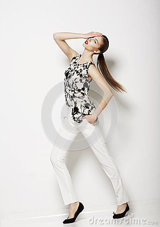 Free Vogue. Modern Female Wearing Trendy Pants. Fashion Collection Royalty Free Stock Image - 30429146