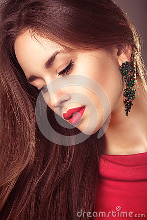 Vogue portrait of beautiful young woman hair style