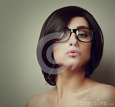 Vogue portrait of sexy girl in glasses