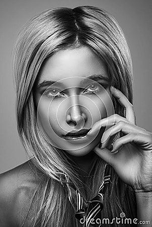 Vogue style glamour photo portrait sensual blonde woman