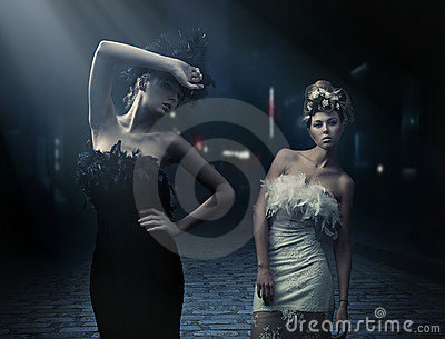 Vogue style photo of a two fashion ladies