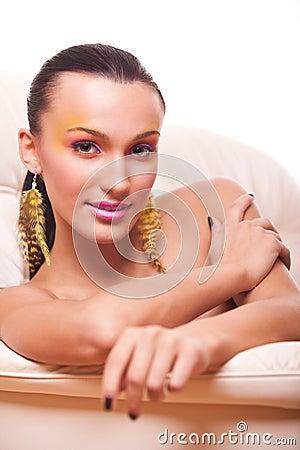 Vogue style portrait of beautiful woman