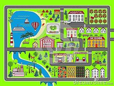voie de voiture de paysage de ville tapis de jeu d 39 enfants illustration stock image 82296872. Black Bedroom Furniture Sets. Home Design Ideas
