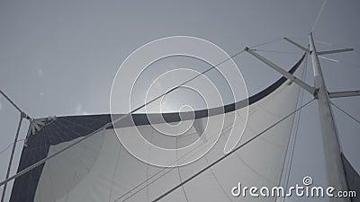 Voile blanche avec mât sur un yacht S-Log3 Mouvement lent banque de vidéos