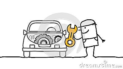 Voiture et mécanicien