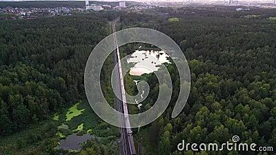 Voitures de train de marchandises passant à distance à la ligne double dans les lacs et les forêts de la Karélie, Russie Vue aéri banque de vidéos