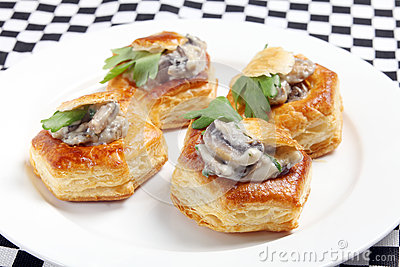 Vol au vents on a plate