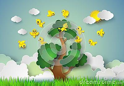 Vol d 39 oiseau autour d 39 un arbre illustration de vecteur for Bordure autour d un arbre