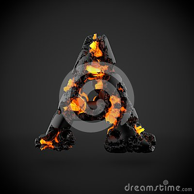 Free Volcanic Alphabet Letter A Uppercase Isolated On Black Background. Stock Image - 92293791