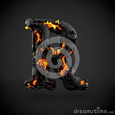 Free Volcanic Alphabet Letter R Uppercase Isolated On Black Background. Royalty Free Stock Photo - 92294225
