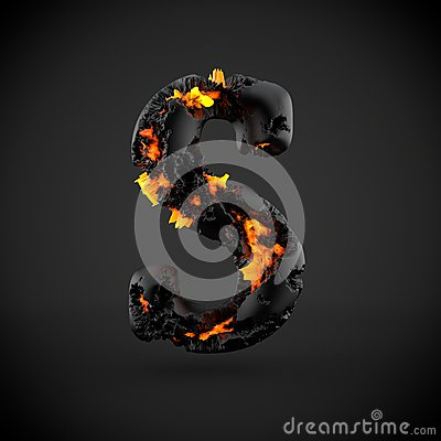 Free Volcanic Alphabet Letter S Uppercase Isolated On Black Background. Stock Images - 92294214