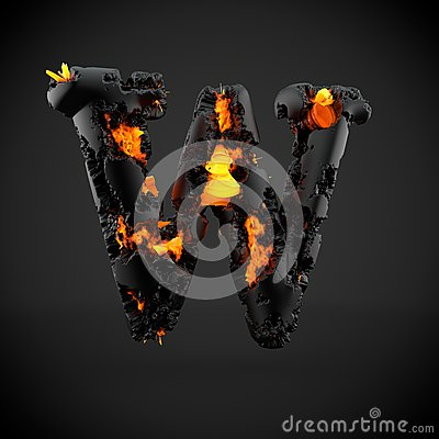 Free Volcanic Alphabet Letter W Uppercase Isolated On Black Background. Stock Photography - 92294192