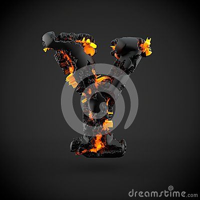 Free Volcanic Alphabet Letter Y Uppercase Isolated On Black Background. Royalty Free Stock Images - 92294219