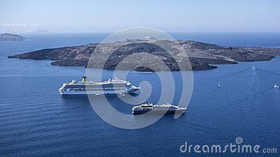Volcanic island and  cruise ships Editorial Photo
