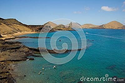 Volcanic island in ocean