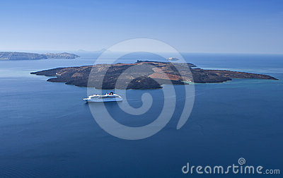 The volcanic island of Santorini in Greece