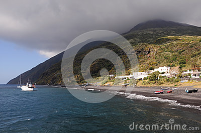 Volcanic island Stromboli. Italy.