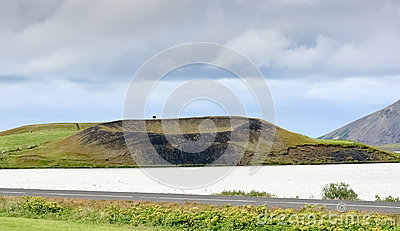 Crater of small volcano, Myvatn lake - Iceland