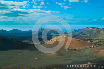 Volcanic landscape from Lanzarote island, Spain.