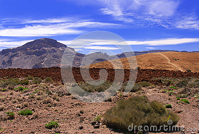 Volcanic  landscape  near volcano Teide with blue