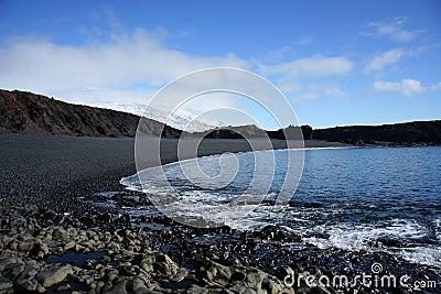 Volcanic pebble beach