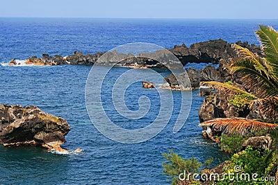 Volcanic shoreline on west Maui, Hawaii