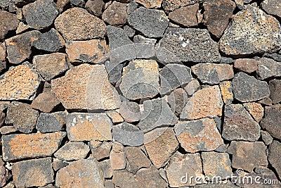 Volcanic stone wall