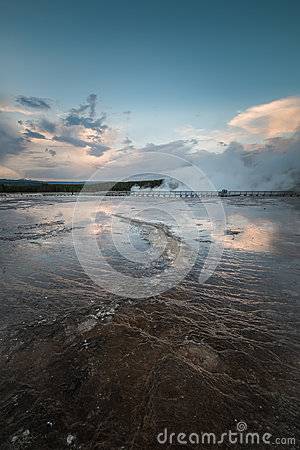 Free Volcanic Structure And Steaming Geysers In The Grand Prismatic Spring Area In Yellowstone National Park, Wyoming Royalty Free Stock Images - 95318429