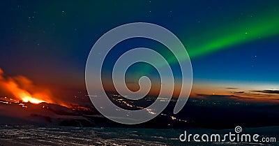 Volcano aurora Editorial Stock Photo