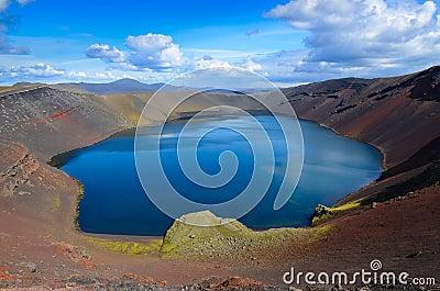 Volcano caldera crater lake, Iceland