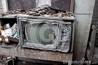 Volcano Damaged Melted Television