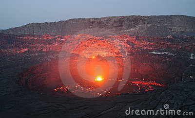 Volcano Erta Ale before sunrise