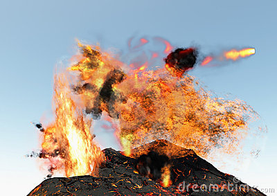 Volcano erupting lava and clouds of fire