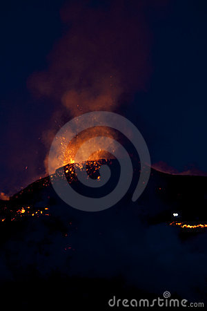 Free Volcano Eruption, Fimmvorduhals Iceland Stock Photography - 14369692