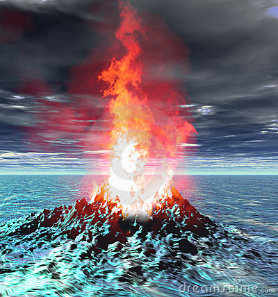 Volcano eruption flame fire virtual scene