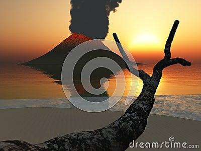 Volcano glowing at dusk