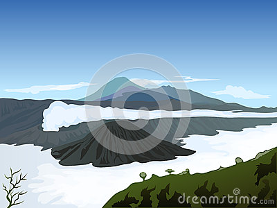Volcano landscape with cloudy blue sky background