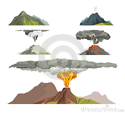 Free Volcano Magma Nature Blowing Up With Smoke Volcanic Eruption Lava Mountain Vector Illustration Stock Photos - 94903543