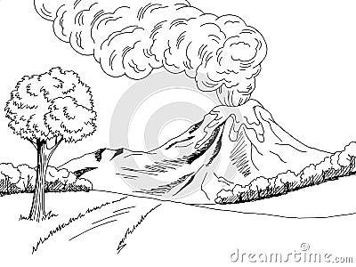 how to draw a cartoon volcano