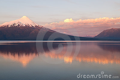 Volcano Osorno in Chile wit reflection in the lake