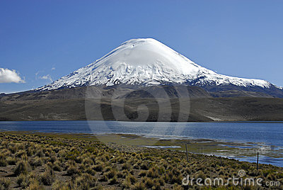 Volcano Parinacota and lake Chungara