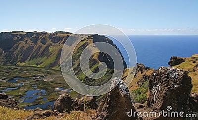 Volcano Rano Kau, Easter Island