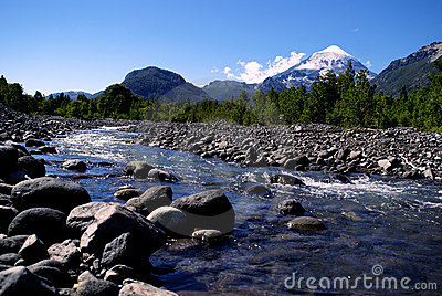 Volcano and River