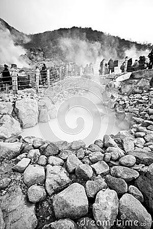 Volcano sulfur steam pit
