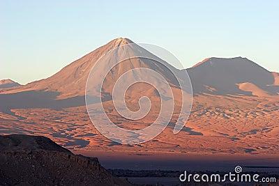 Volcano at sunset, Atacama Desert, Chile
